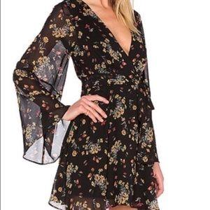 Free People | Black Floral Long Sleeve Dress